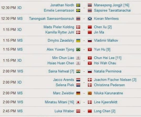 Jadwal Pertandingan BWF World Championships 2014 Hari Kedua 2