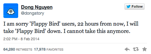 Flappy Bird's developer announced his decision to pull Flappy Bird