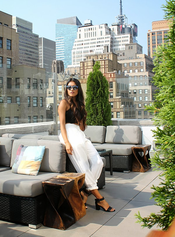 monarch, addison, new york city, new york rooftop bar, rooftop lounge new york city, fashion blogger, style by lynsee, italia independent sunglasses, mirrored sunglasses, black crop top, topshop crop top, parachute pants, high waisted pants, summer pants, lightweight pants, hm, tahari shoes, fashion tips, summer style, popsugar fashion, popsugar blogger, miami beach, new york city, what to wear in new york city, lucky magazine, teen vogue, seventeen, youtuber, style haul