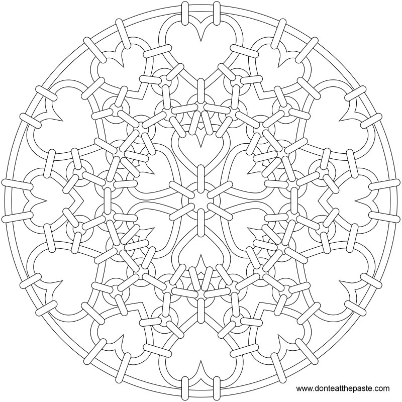 Heart chainmail mandala to color. Also available in transparent PNG format.