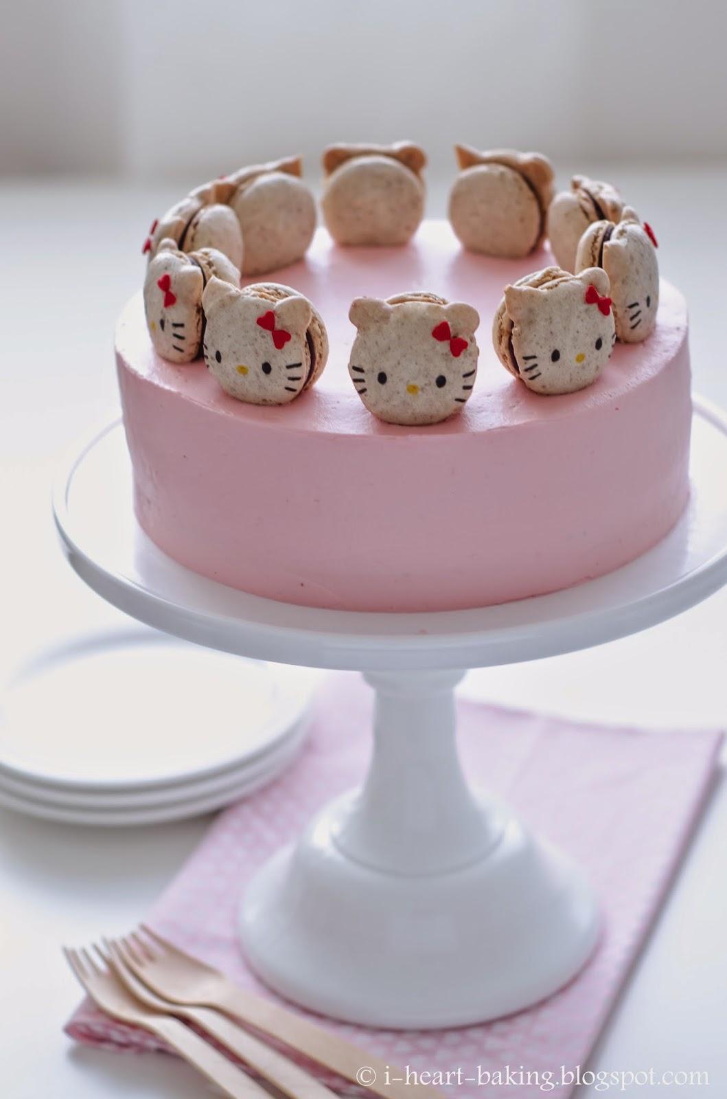 I Heart Baking Hello Kitty Macaron Cake With Neapolitan