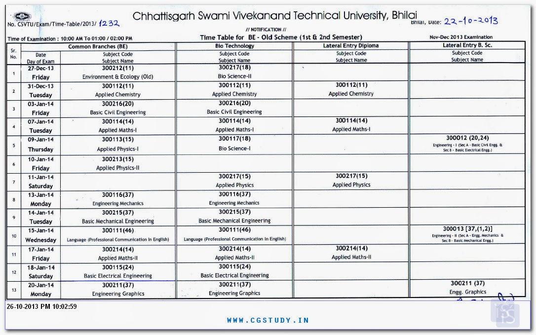 Download csvtu time table for b e november december for Rtu 4th sem time table
