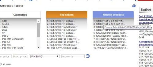 Primi prezzi prevendita europei per Samsung Galaxy Tab S da 8,4 e 10,5 pollici