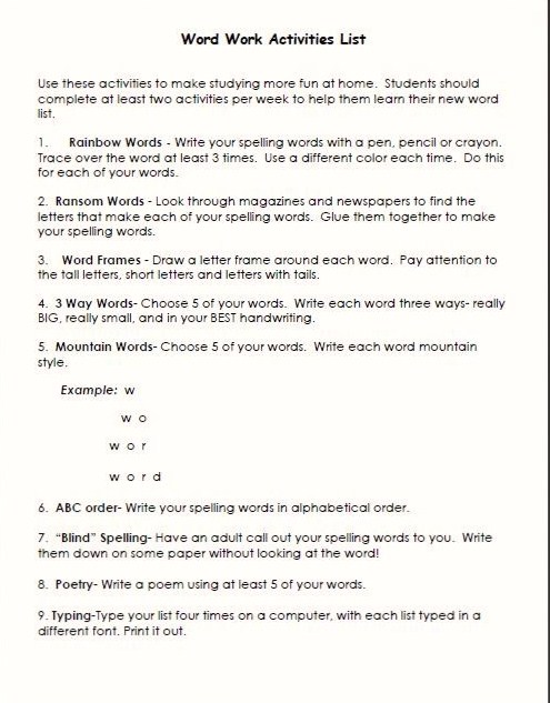 Ms. Dodds\' Class: Word Work Homework Activities