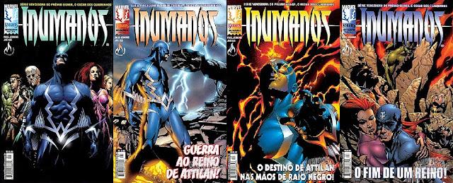 Capas das quatro edições da minissérie Inumanos, publicada no Brasil pela Mythos