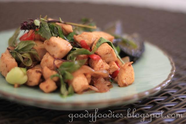 Northern Thai stir fried chicken with century eggs and crispy Thai ...