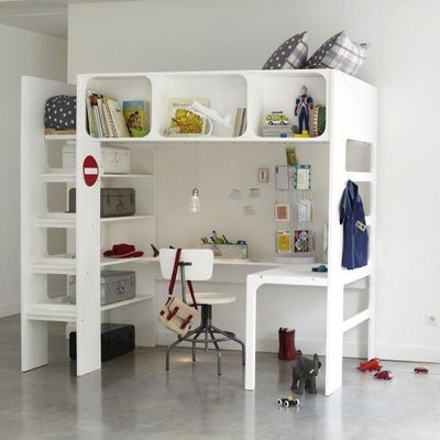 Cama escritorio a la vez para ni os decoracion endotcom - Camas pegadas ala pared ...