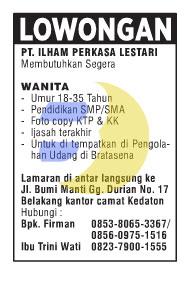 Lowongan Kerja PT. ILHAM PERKASA LESTARI Lampung