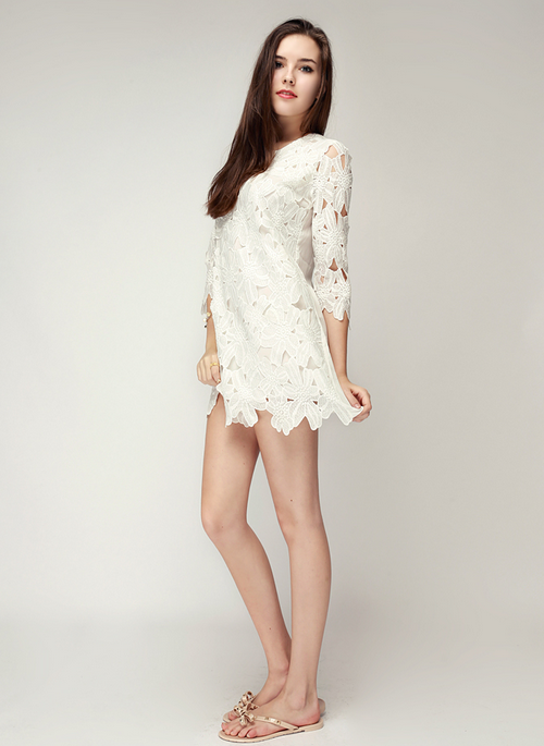 Flower Lace Applique Shift Dress