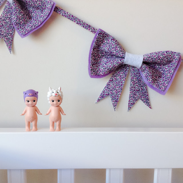 Purple Liberty Print Bow Garland Girls Wall Decor