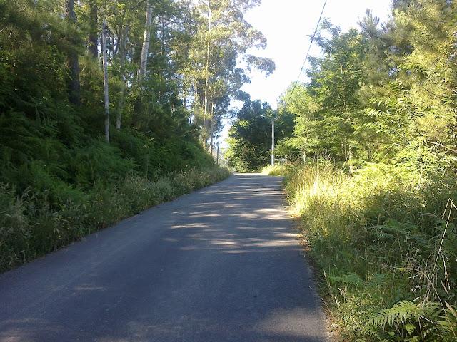 carretera en la ruta de senderismo monte san lois noia