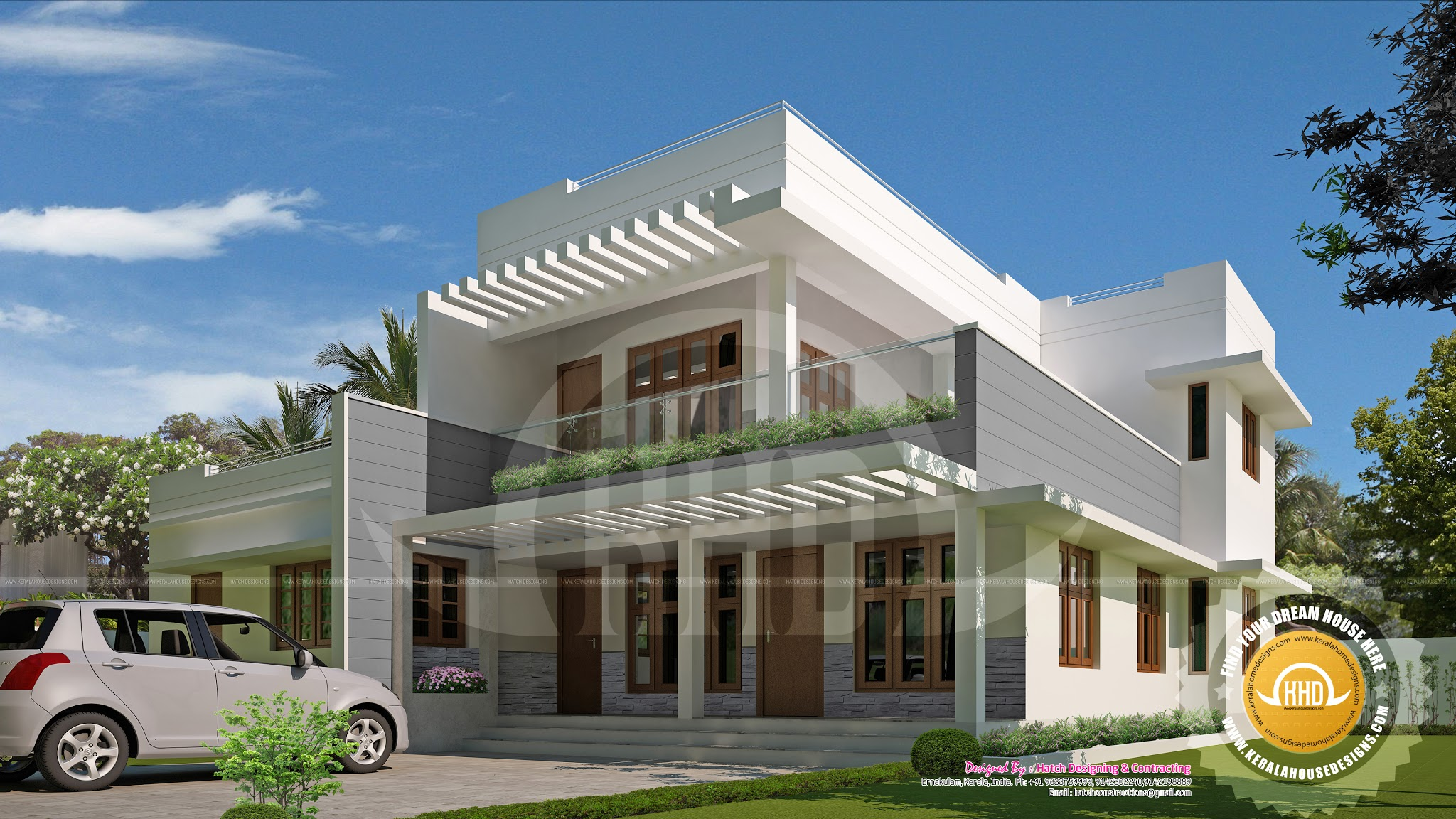 Contemporary mix 5 bedroom house kerala home design and for 5 bedroom homes