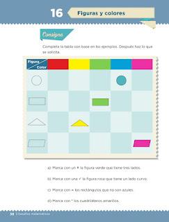 Apoyo Primaria Desafíos matemáticos 3er grado Bloque 1 lección 16 Figuras y colores