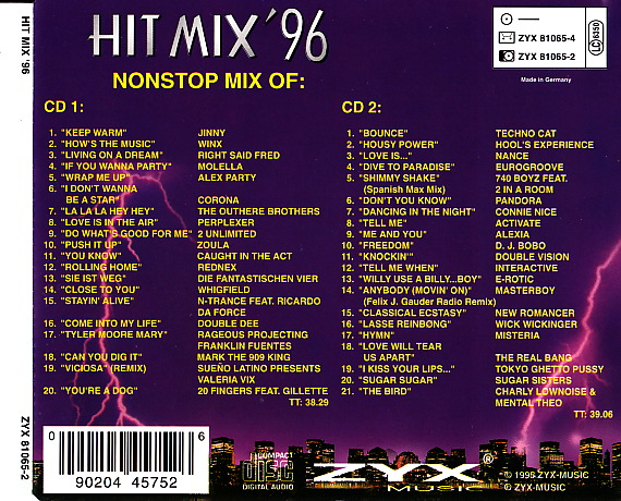 Hit mix 39 96 2cd set 41 original artists non stop mix for 90s house music hits