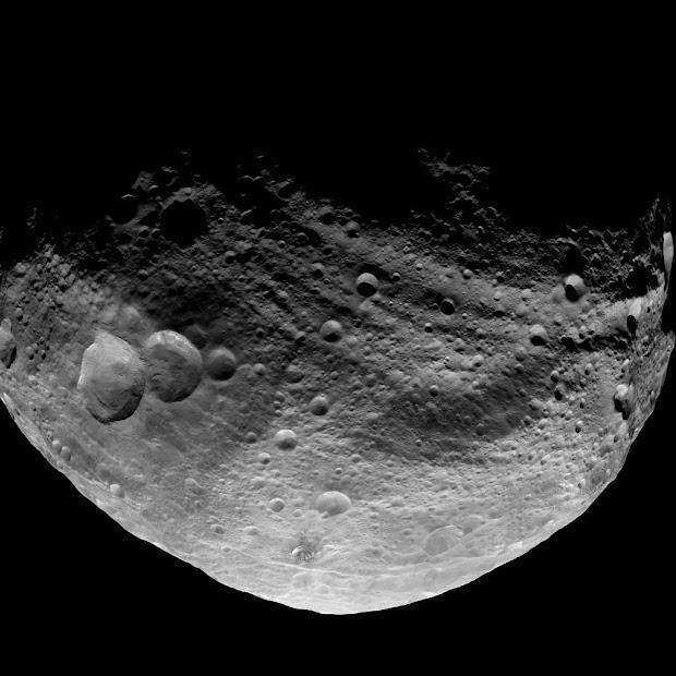 NASA's Dawn Spacecraft views dark side of Asteroid Vesta