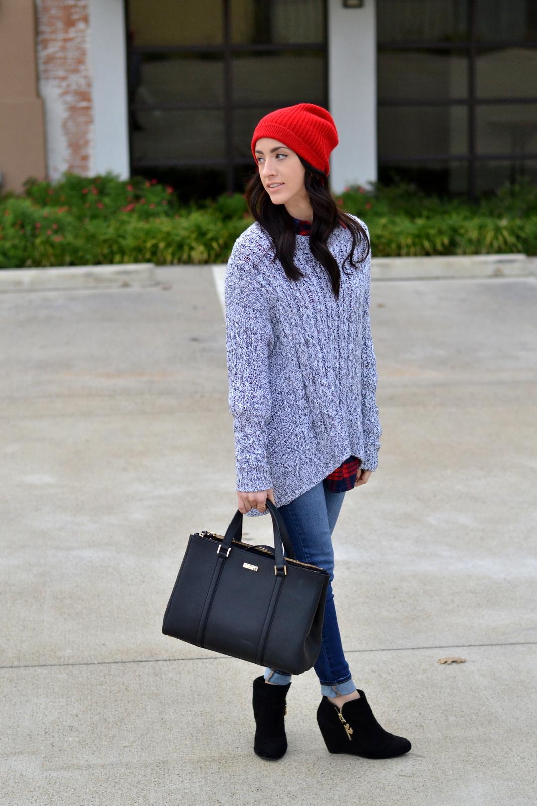 Black Kate Spade_Chunky Knit_Flannel_Beanie