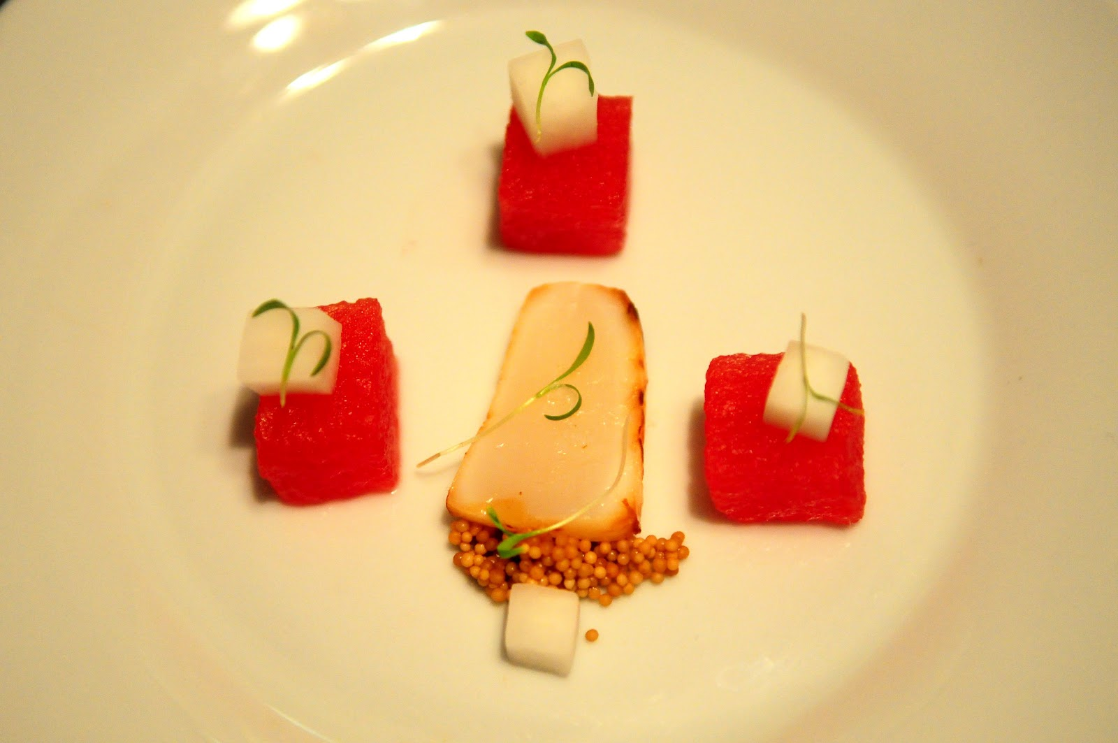 Sesame Cured Scallop, Compressed Watermelon, Pickled Daikon, Candied ...