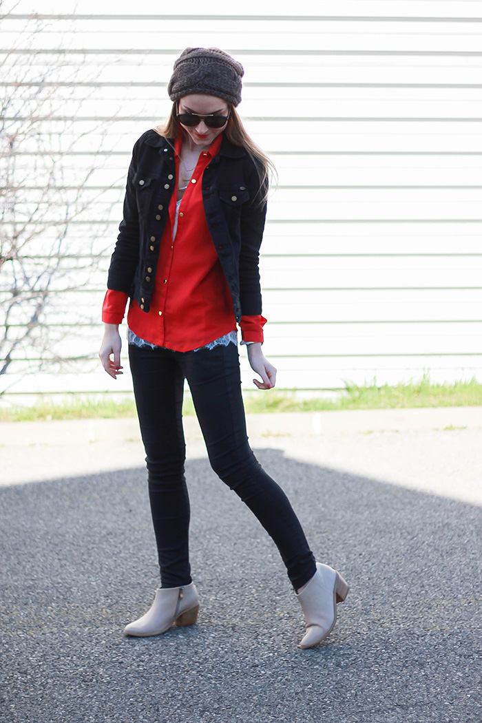 red shirt black denim