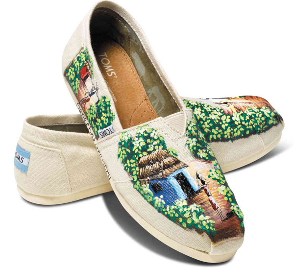hand painted shoes, hand painted slip-on shoes, hand painted textiles, hand painted fabrics,