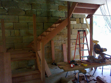 The second level staircase going in Australian Bluegum looks good