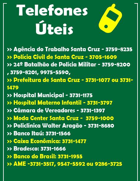 TELEFONES ÚTEIS DE SANTA CRUZ DO CAPIBARIBE - PE