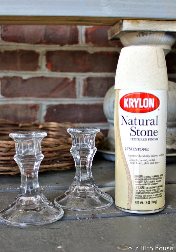 spray painted candlesticks with Krylon natural stone spray paint