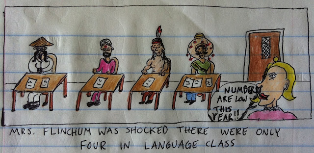 There were only four in language class.