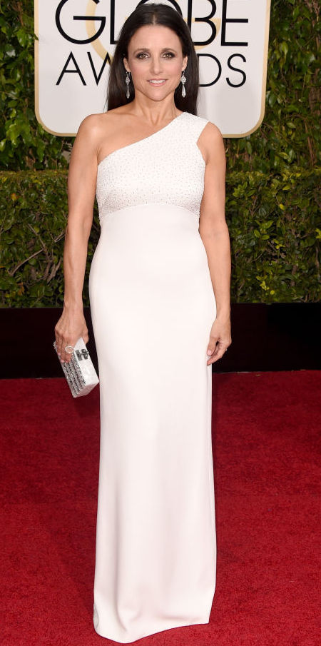 Julia Louis-Dreyfus in a Narciso Rodriguez dress at the Golden Globes 2015