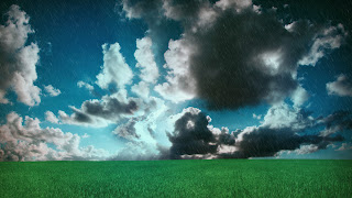 Cool Green Grass Rain Blue Sky HD Wallpaper