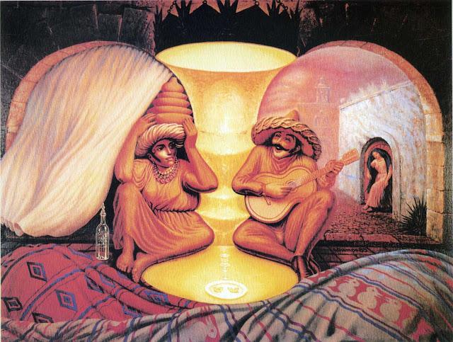 Forever Always, tableau basé sur une illusion d'optique d'Octavio Ocampo est un peintre mexicain.