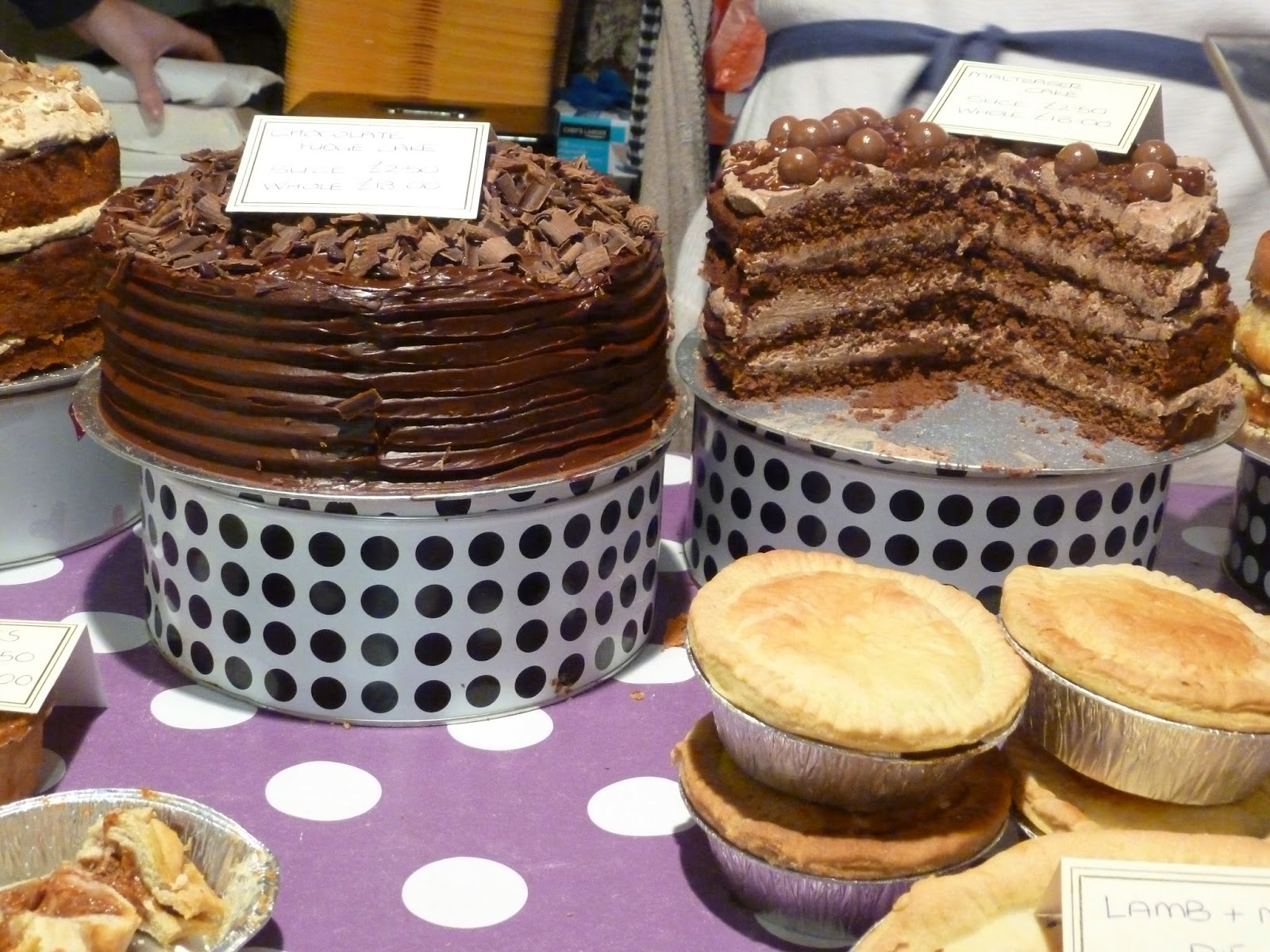 Farmers market stall cakes, pies and maltesers cake