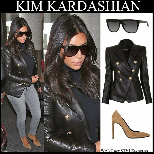2ddceacb78 WHAT SHE WORE  Kim Kardashian in black leather blazer with taupe ...