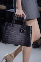 Тъмносива чанта крокодилска кожа, дизайн Christian Dior