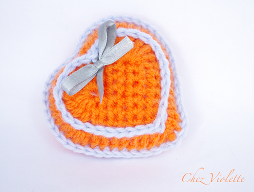 Coeur orange 2 d - orange heart 2D - Chez Violette