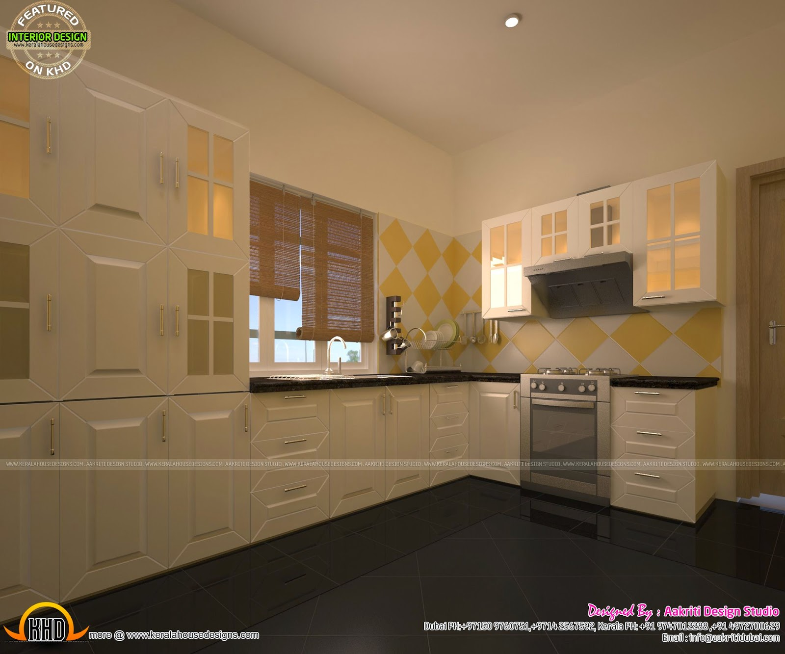 awesome interiors of living kitchen and bathroom kerala home