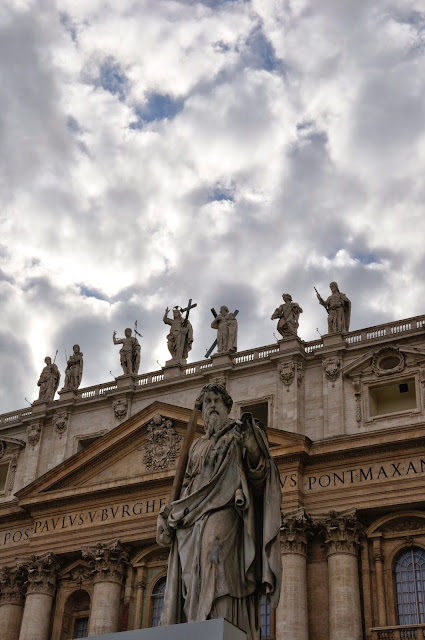 Sky line at the front of St Peter's Basilica