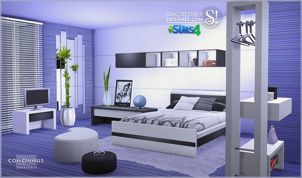 My sims 4 blog concinnus bedroom set by simcredible designs for Three room set design