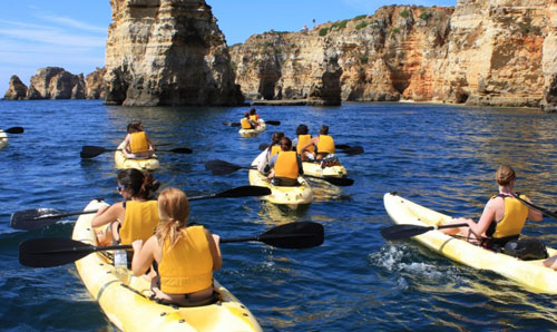 Sea Kayaking in Lagos, Algarve, Portugal.