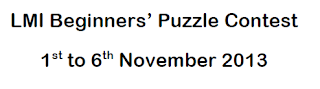 2nd LMI Beginners' Puzzle Test in November 2013 on 1-6 Nov 2013