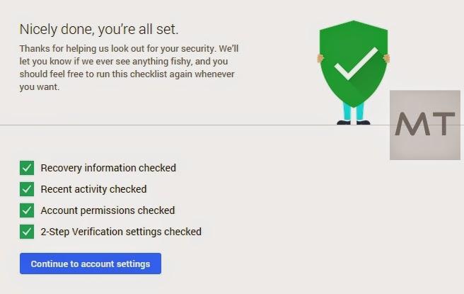 Cek keamanan akun Google kamu di Scurity Checkup.