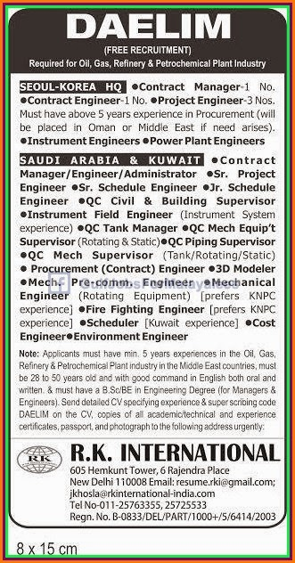 Free Recruitment For DAELIM KSA,Kuwait & Korea - Gulf Jobs for ...