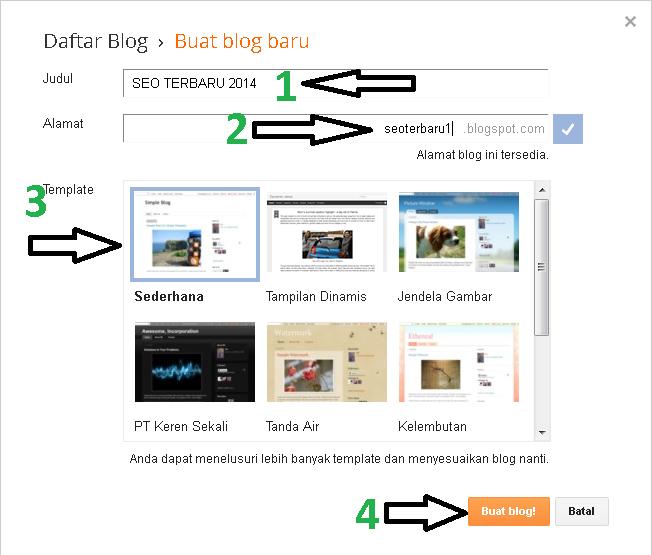 Nama Blog, Nama Halaman Blog, Jenis Template Blog
