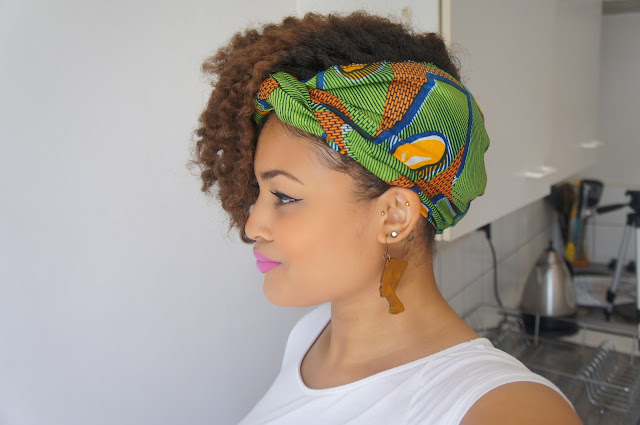 Natural hair african print ankara print scarf tutorial