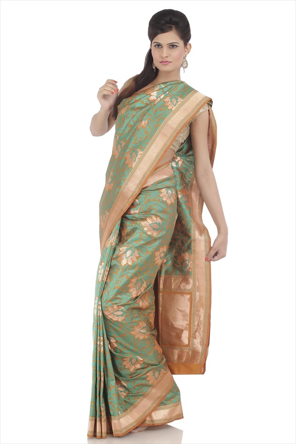 Old Gold Kattan Silk Banarasi Saree