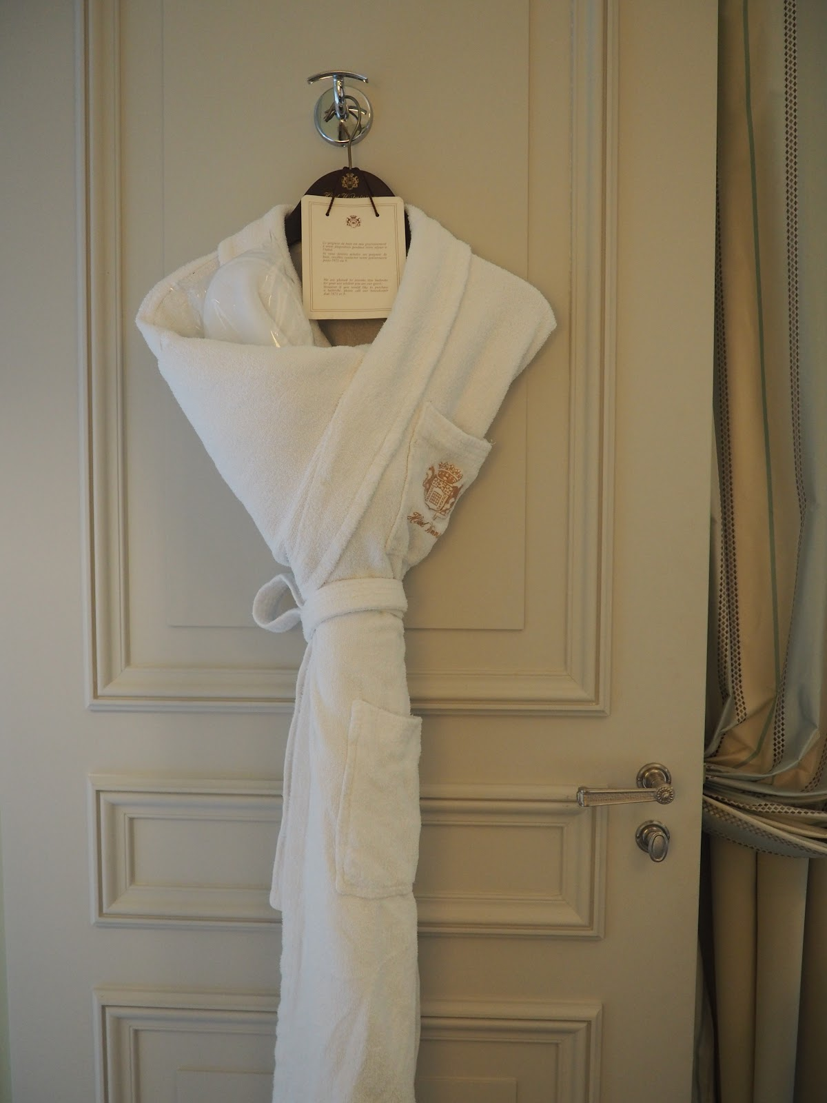 dressing gown hanging on the back of the door, Saint-Honore-Suite, Hotel Westminster, Paris
