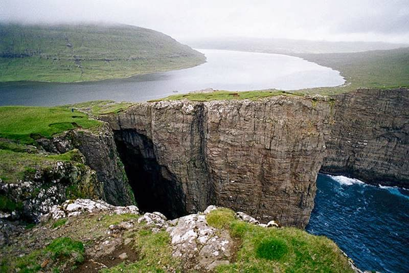 Lake Leitisvatn in Faroe Islands