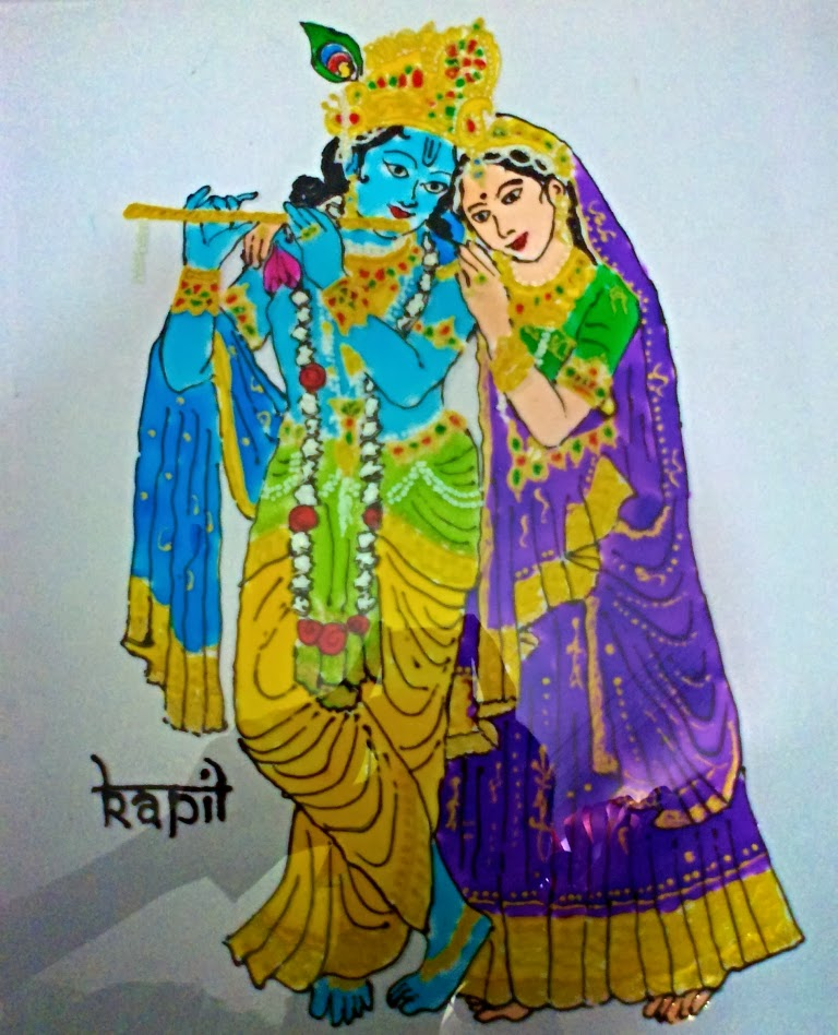 Glass Paintings of Lord Krishna And Radha Radha Krishna Glass Painting