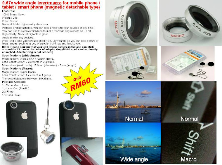 Wide angle &amp; macro lens for smart phone camera. Only RM60