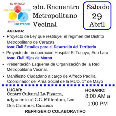 La @RedOrgBaruta invita al 2do Encuentro Vecinal Metropolitano, sábado #29A, 8:00 am