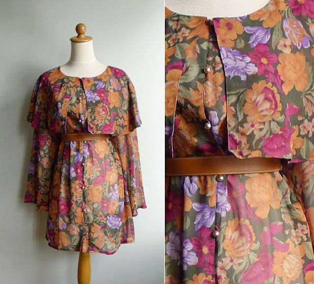 retro 80s or 90's sheer floral dress